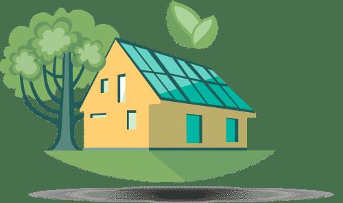 maison qui produit de l'energie solaire